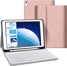 iPad Keyboard Case for iPad 10.5, iPad Air 3 10.5 2019 3rd Gen iPad Pro 10.5 2017 JUQITECH Smart Case with Keyboard Detachable Wireless Keyboard Magnetically Case Cover with Pencil Holder, Rose Gold