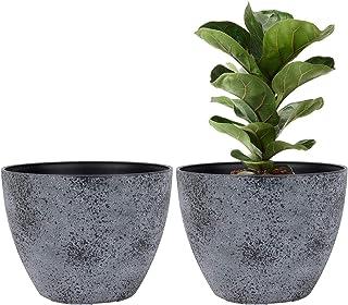 LA JOLIE MUSE Flower Pots Outdoor Indoor Planter - 11.3 inch Garden Pots Tree Planter for Patio, Deck,Garden,Rock Gray,Set...