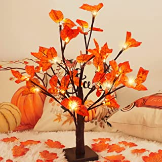CEWOR Fall Maple Tree Lights with 100pcs Maple Leaves Light up Thanksgiving Decoration Table Centerpiece 1.8ft 24 LED Ligh...
