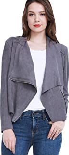 Fasbric Women's Lightweight Whole Faux Chamois Leather Zipper Jacket Suede Tops Solid Coat Outwear (Spring,Autumn)