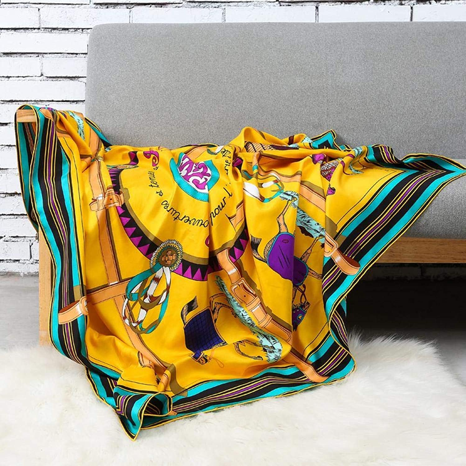 Weiwei Women's Silk Shawl Silk Scarf Light and Breathable Send Friends and Family 140CM140CM