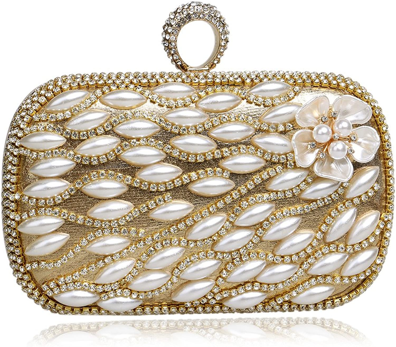 Flada Women Top Ring Crystal Bead Flos Evening Clutch Bags