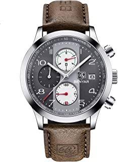 BENYAR Chronograph Waterproof Watches Business Leather Band Strap Wrist Watch with Date for Men