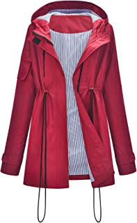 Sanfo - Chubasquero para mujer con capucha, impermeable, cortavientos y resistente a la intemperie