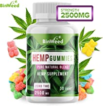Hemp Gummies (2500mg) - Made in USA - 84 mg per Gummy - Relieves Pain, Stress, Anxiety, Inflammation, Insomnia