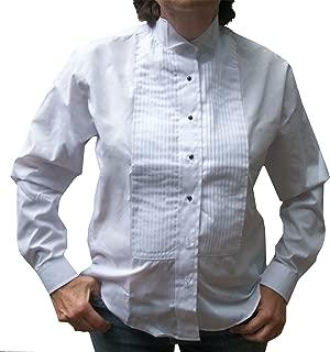Broadway Tuxmakers Women's Wing Collar, Large Pleats Tuxedo Shirt
