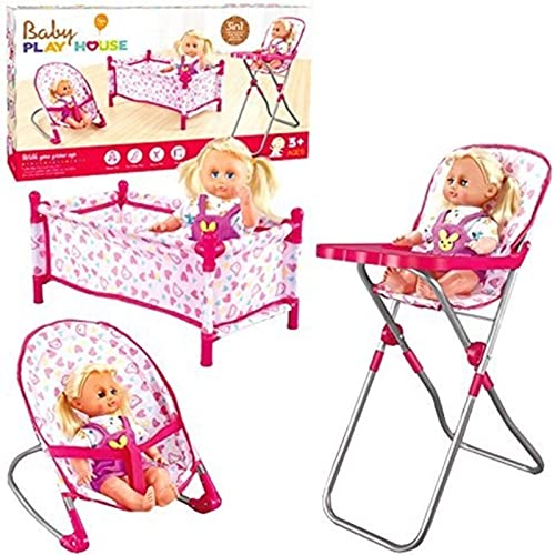 d2335e16ea9f Rexco Childrens Kids Deluxe 3 in 1 Baby Dolls Folding Cot Bed Pillow Cover  Bouncer High