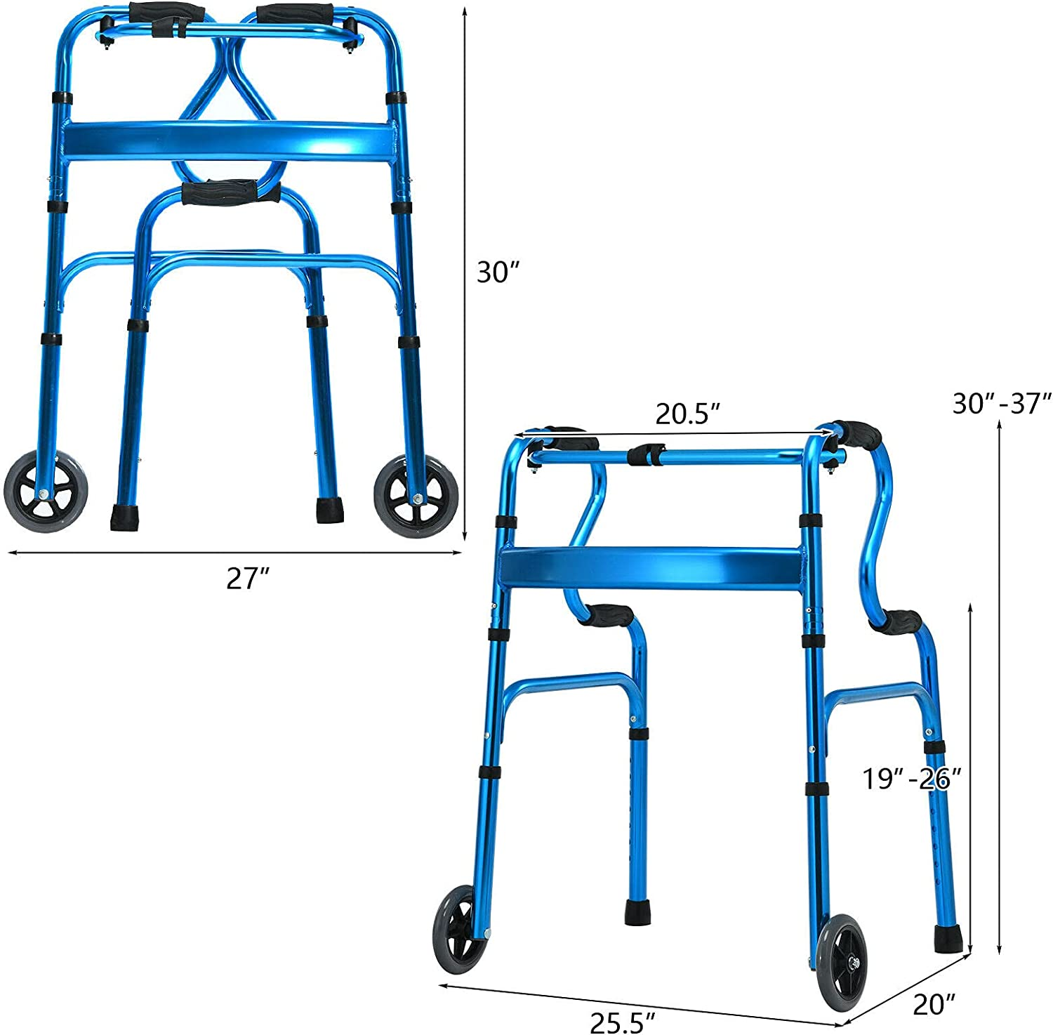 Goplus 440LBS Foldable Standard Walker, Reinforced and Thickened Rehabilitation Auxiliary Walking Frame with Wheels & Bi-Level Armrests, Height Adjustable Elderly Walking Mobility Aid (Blue) : Health & Household