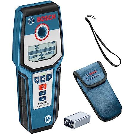 Bosch Professional Détecteur mural GMS 120 (profondeur de détection maxi bois/métaux magnétiques/métaux non-magnétiques/câbles sous tension : 38/120/80/50 mm, boîte carton)