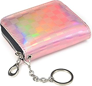 Credit Card Holder RFID Blocking, Mini Wallet Compact Size with Elastic Coin Pocket, ID Window, Leather Card Cases with Zi...