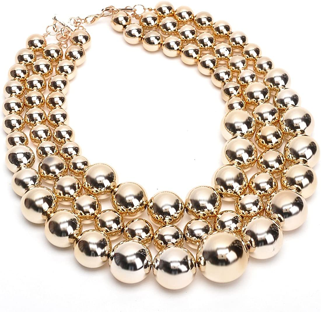 Fashion Jewelry Multi Strand Simulated Pearl Resin Chain Collar Choker Statement Necklace Costume Jewelry Necklaces for Women&Girls Christmas Gift