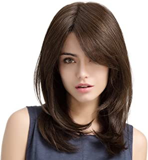 HAIRCUBE Brown Wigs 20 Inch Long Layered Natural Curly Wigs for White Women Shoulder Length Synthetic Wigs for Women Brown Highlight Wigs