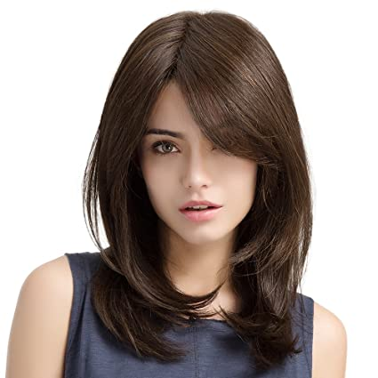 HAIRCUBE Long Brown Wigs 20 Inch Long Layered Natural Curly Wigs for White Women Shoulder Length Synthetic Wigs for Women Brown Highlight Wigs