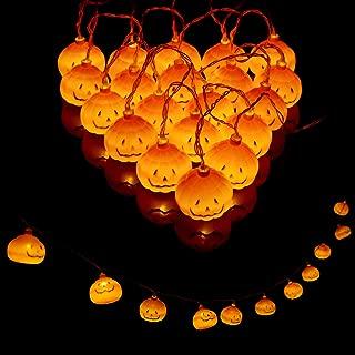 YengHome 20LED Halloween Pumpkin String Lights Decorations,2 Modes Steady/Flickering Pumpkin Lantern String Lights Decor for Indoor Outdoor Party