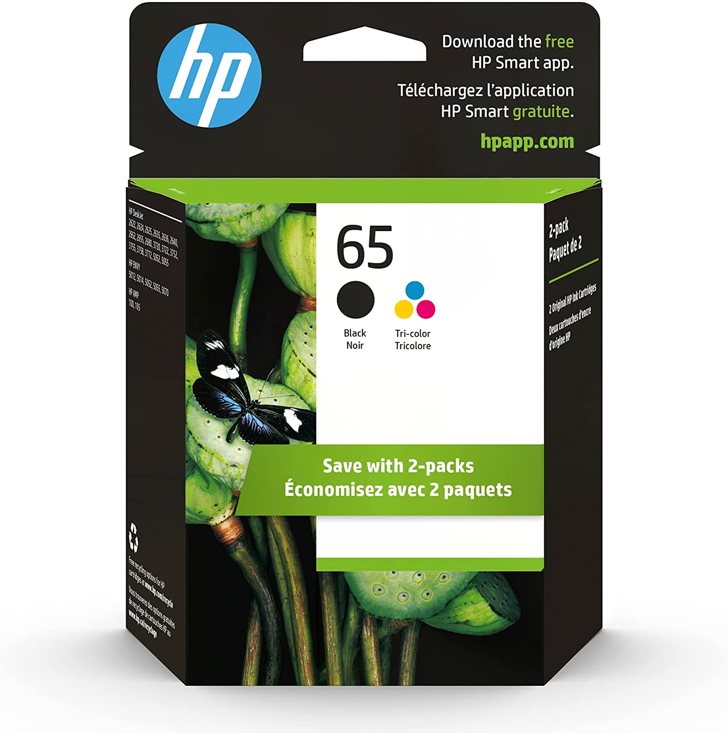 NEW before selling HP 65 2 Ink Cartridges Tri-color free Works Black Desk with