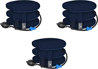 Cervical Neck Traction Device by Corps Legacy - 3 Pack - Neck Traction Inflatable Cervical Collar for Chronic Neck Pain Relief - Neck Stretcher is FDA Approved (Blue)