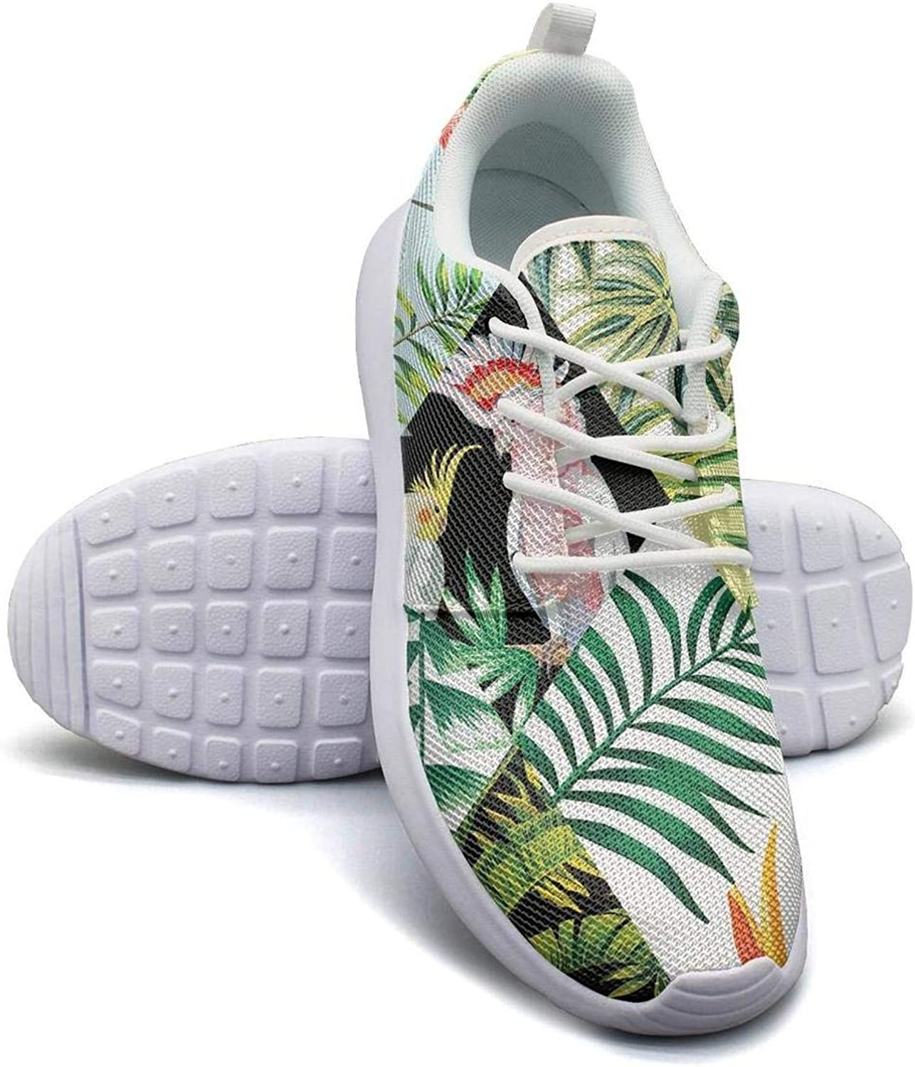 CHALi99 Comfort Women Lightweight Mesh shoes Tropical Floral Hawaiian Exotic Sneakers Sport Lace-Up