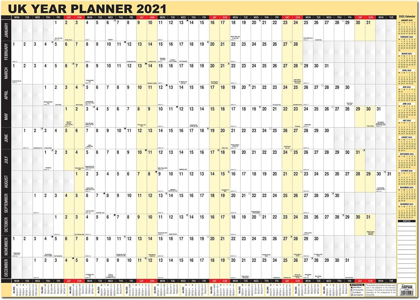 2021 Full Year Laminated Wall Planner Calendar