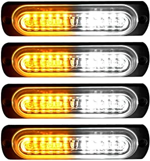 YITAMOTOR 4 inch Amber White Surface Mount Grill Light Head, 12W Bright LED Mini Strobe Light Bar for 12V-24V Construction Vehicle, Tow Truck Van (pack of 4)