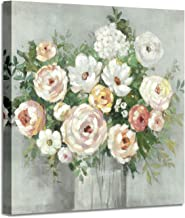 Abstract Flower Artwork Canvas Painting: Peony in Vase Picture Floral Wall Art on Canvas for Wall (28'' x 28'' x 1 Panel)
