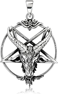 WithLoveSilver Sterling Silver 925 Pentagram Pentacle Goat Horned God Cernunnos Pendant