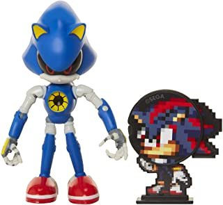 "Sonic The Hedgehog Collectible Metal Sonic 4"" Bendable Flexible Action Figure with Bendable Limbs & Spinable Friend Disk A..."