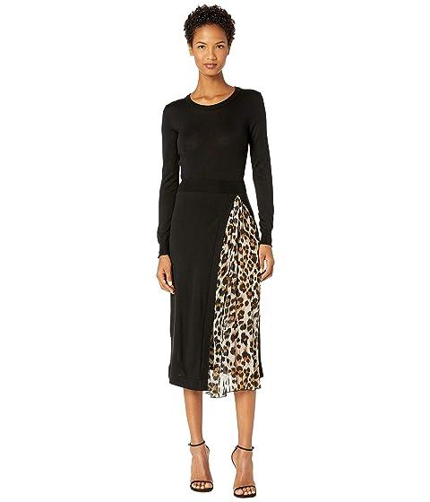 Boutique Moschino Wool Leopard Slit Dress