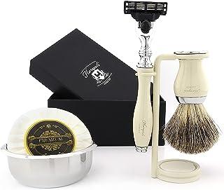 3-krawędziowy zestaw golarek do golenia dla mężczyzn z czystą szczoteczką do golenia, uchwyt do golenia i szczotki - mydło...