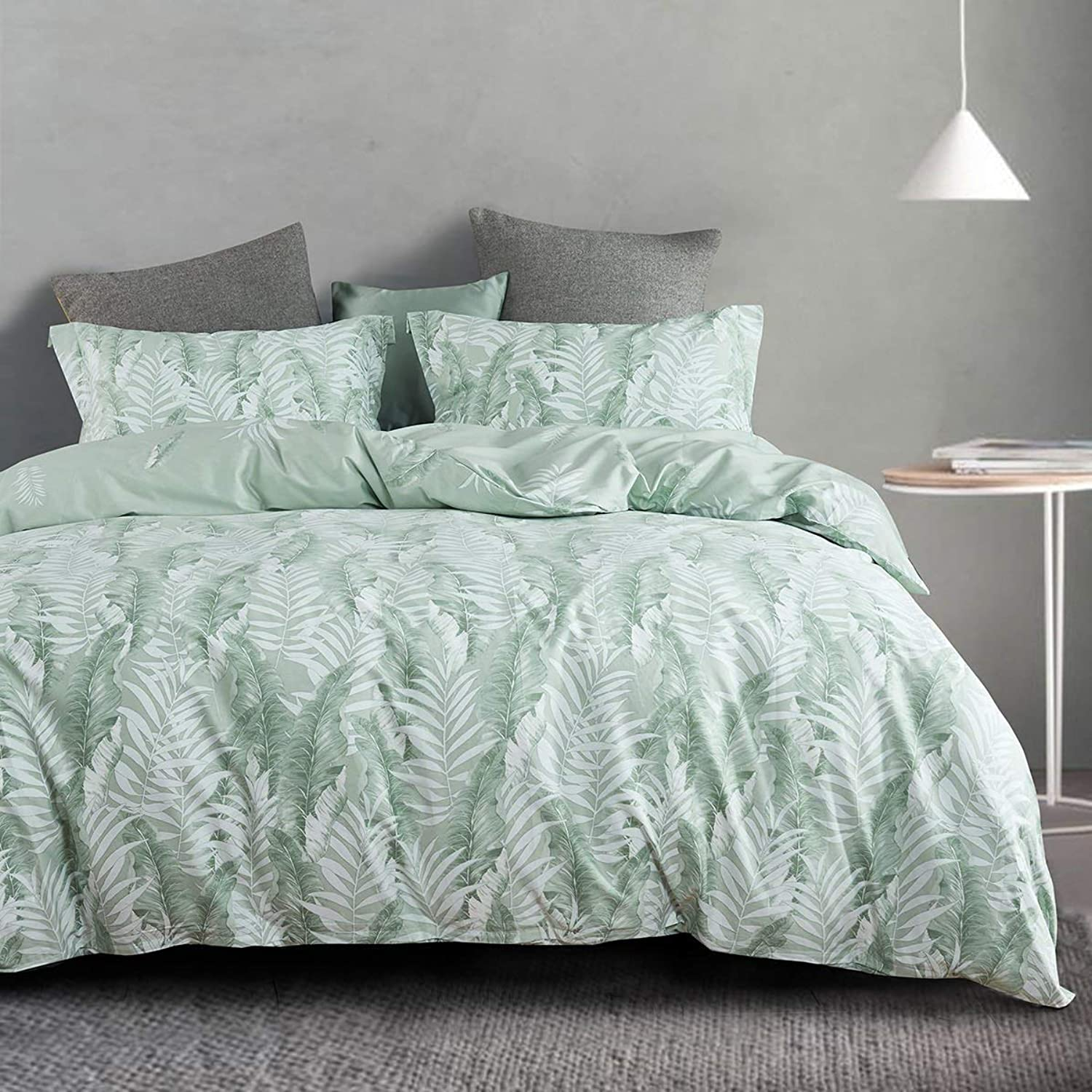 DOLDOA Cotton Tropical Floral Duvet Cover King (90x104inch),3 Pieces (1 Duvet Cover,2 Pillowcases) Green Palm Leaf Printed Bedding Cover Set,Soft and Breathable Duvet Cover Set for Kids,Boys and Girls
