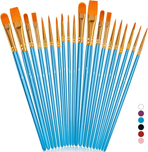 Soucolor Acrylic Paint Brushes Set, 20Pcs Round Pointed Tip Artist Paintbrushes for Acrylic Painting Oil Watercolor C...