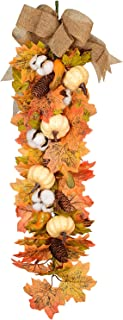 27Inch Artificial Fall Maple Swag, Decorative Swag with Autumn Leave,Pumpkin, Pine cone,Cotton ball Garland for Autumn Wedding Door Fireplace Thanksgiving Dinner Party