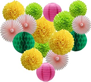 Party Decorations Kit Hanging Paper Fan Tissue Paper Pom Poms Flowers Honeycomb Balls Paper Lantern for Trial Baby Shower First Birthday Bridal Shower Summer Decorations Hawaiian Luau Beach Supplies