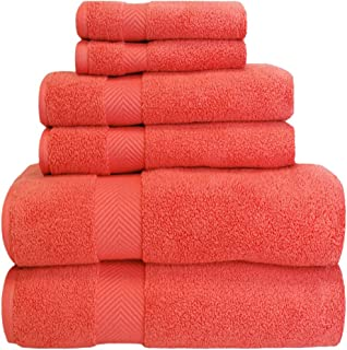 Superior Zero Twist 100% Cotton Bathroom Towels, Super Soft, Fluffy, and Absorbent, Premium Quality 6 Piece Towel Set with 2 Washcloths, 2 Hand Towels, and 2 Bath Towels - Coral