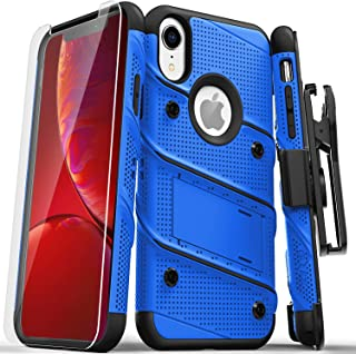 ZIZO Bolt Series iPhone XR Case Military Grade Drop Tested with Tempered Glass Screen Protector Holster and Kickstand Blue Black