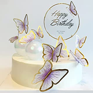 تکه های کیک پروانه ای طلایی بنفش 11 تکه تولدت مبارک متال طلا تبریک تولد کیک تپر پروانه کیک تولد تزیینات کیک تزیینات جشن کیک پروانه ای