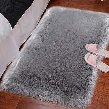 HARESLE Australian Sheepskin Rug, Fluffy Area Rugs Anti-Skid Yoga Carpet for Living Room Bedroom, Grey/23.6x35.4 inch