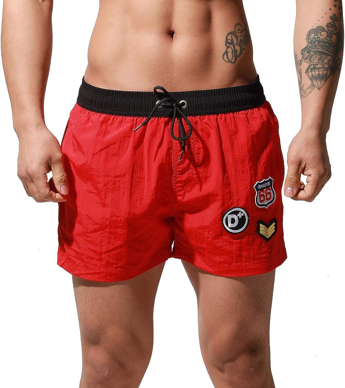 DESMIIT Men's Short Loose Swimwear Sports Label Board Shorts Surf Swimsuit