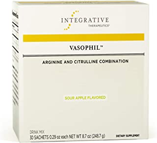 Integrative Therapeutics - Vasophil Drink Mix - Arginine and Citrulline Combination - Support Cardiovascular, Vasodialation, Blood Flow, & Sexual Function - Sour Apple Flavor - 30 Sachets