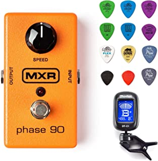 MXR M101 Phase 90 Guitar Effects Pedal Bundle w/ Dunlop Chromatic Clip-On Tuner and Dunlop Variety Pick Pack