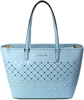 MICHAEL Michael Kors Violet Carryall Tote Pale Blue Perforated Mirror