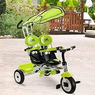 Costzon Kids Trike, 4-in-1 Kids Steer Tricycle Stroller Bike w/Canopy Basket (Tandem Tricycle, Green)