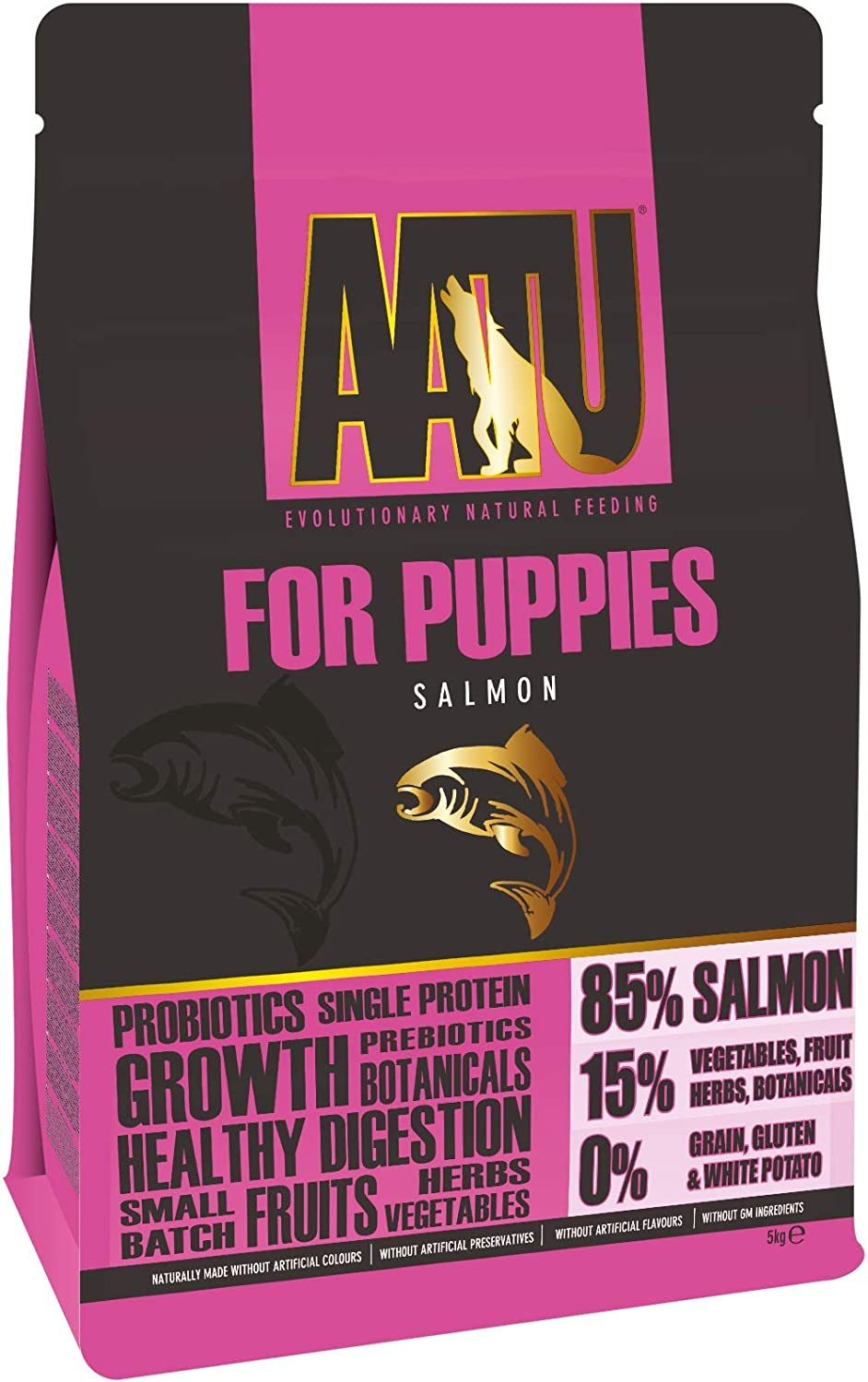 AATU 80 20 Dry Dog Food for Puppies, Salmon, Grain Free Recipe, No Artificial Ingredients, Helps to Promote Healthy Digestion, 5 kg