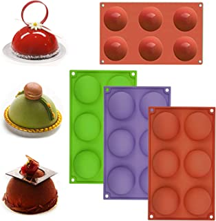 3 Pack Large 6-hole Semi Sphere Silicone Molds, Oceantree Baking Mold for Making Hot Chocolate Bomb, Cake, Jelly, Dome Mou...