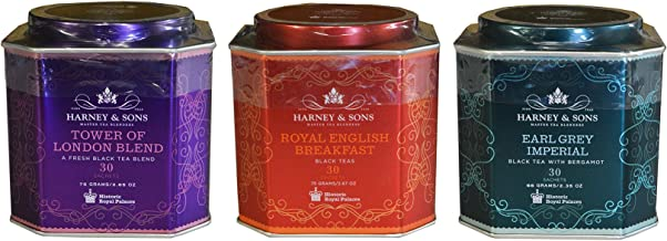 Harney & Sons Historic Royal Palaces Black Tea Collection Set of 3 - Tower of London, Royal English Breakfast, & Earl Grey...