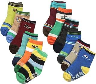 Weixinbuy Baby Socks, Anti-slip Toddler Socks, Baby Infants Cartoon Print Socks, Soft Elastic Ankle Socks, 12 Pairs Baby Socks Set for 1-3 Years Baby Boys Girls