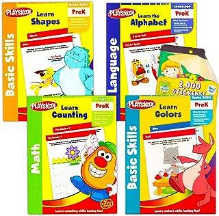 Playskool Preschool Workbooks Set -- 4 Pre-K Learning Workbooks for Preschoolers and Reward Stickers (Alphabet, Counting, Colors, Shapes)