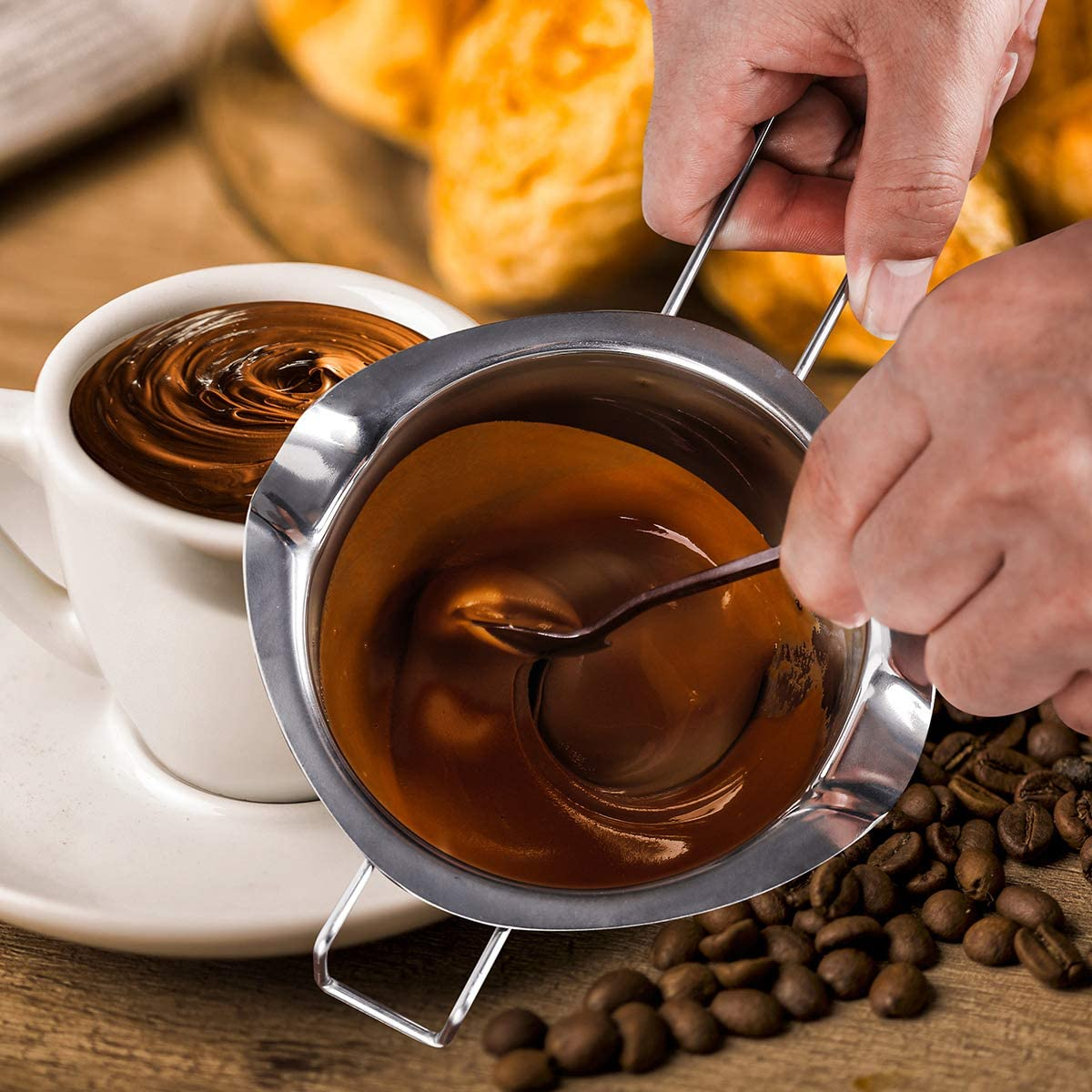 680ML Stainless Steel Double Boiler Pot,BOBIPRO 18//8 Steel Double Boiler with Handle for Chocolate Melting,Candy Candle Making