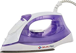 Bajaj MX-3 1250W Steam Iron with Steam Burst, Vertical and Horizontal Ironing, Non-Stick Coated Soleplate, White and Purple
