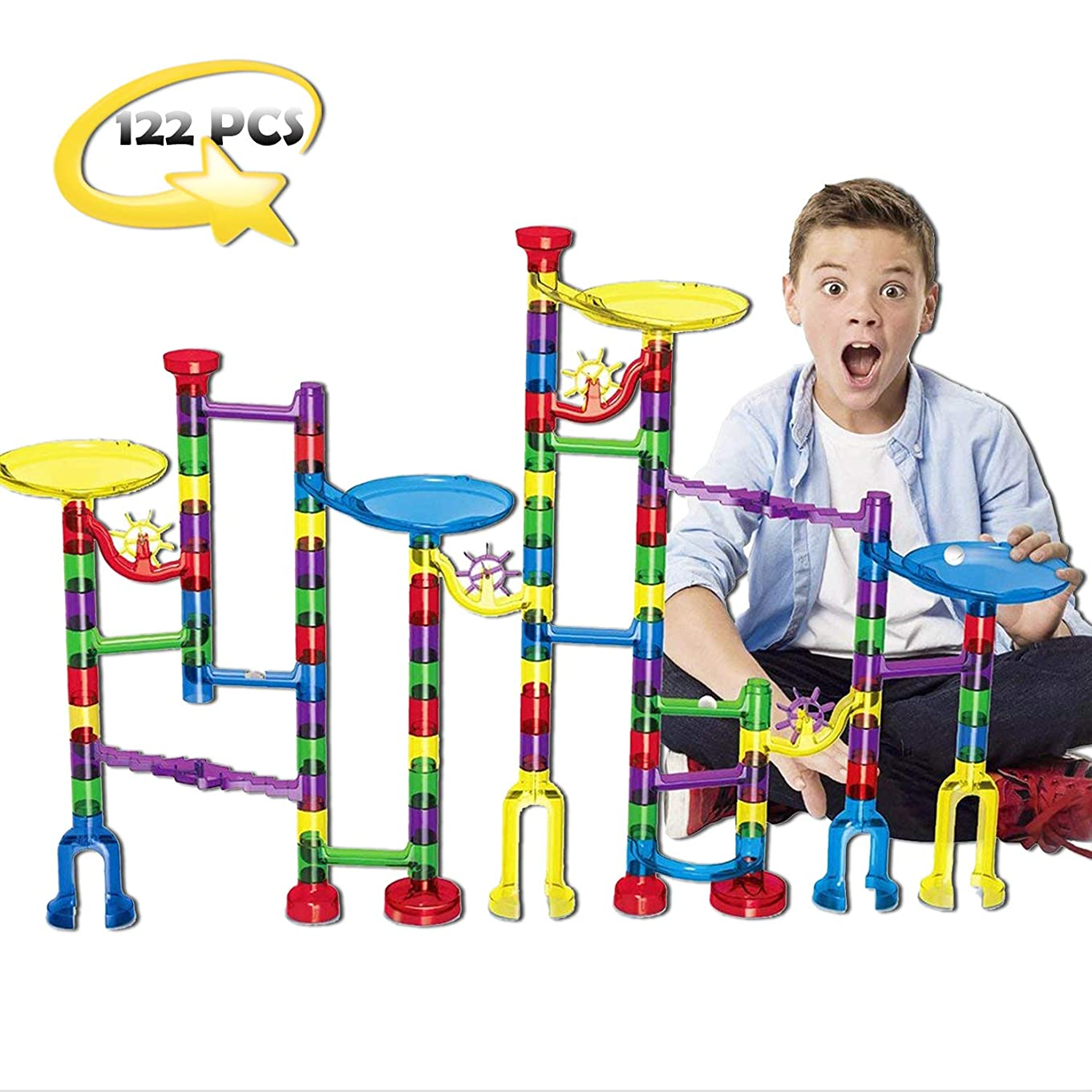 Mercury Nation Marble Run Set for Kids 122 Pcs Marble Game STEM Educational Construction, Learning Toy, Building Blocks for 4 5 6 7 + Kids Birthday, Easter Gifts