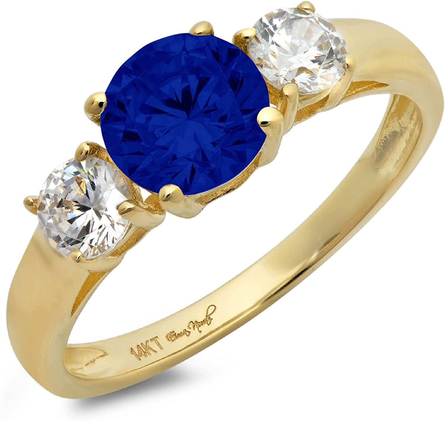 1.44ct Brilliant Round Cut Solitaire 3 stone Flawless Ideal Genuine Cubic Zirconia Blue Sapphire Engagement Promise Statement Anniversary Bridal Wedding Designer Ring Solid 14k Yellow Gold